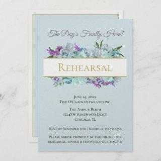 Teal Bouquet Rustic Wedding Suite Rehearsal Party Invitation
