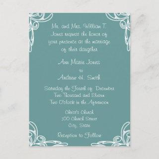 Teal Cheap Wedding Invitations Postcards