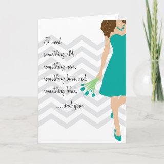 Teal Chevron Will You Be My Bridesmaid Invitations