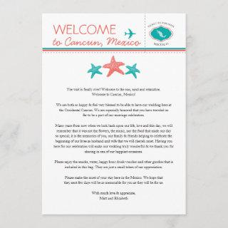 Teal Coral Starfish Mexico Wedding Welcome