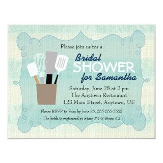 Teal & Cream Burlap Bridal Shower Invitations
