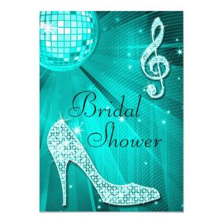 Teal Disco Ball and Sparkle Heels Bridal Shower Invitations