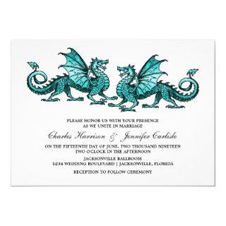 Teal Elegant Dragon Wedding Invite