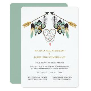 Teal Feather Arrow Dreamcatcher Wedding Invitation