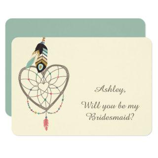 Teal Feather Dreamcatcher Bridesmaid Invitation