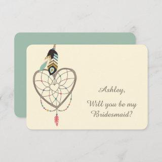 Teal Feather Dreamcatcher Bridesmaid