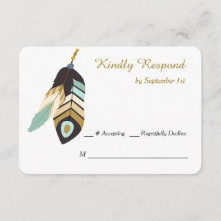 Teal Feather Dreamcatcher Wedding RSVP Card