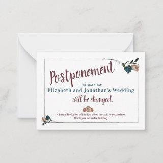 Teal Floral Wedding Postponement Card