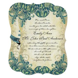 Teal Gold Green Blue Peacock Wedding Invitations