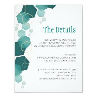 Teal & Gold Hexagon Wedding Details Invitation