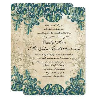 Teal Gold & Lime Peacock Wedding Invitations