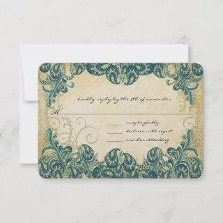 Teal & Gold Peacock Wedding RSVP