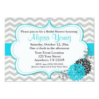 Teal Gray Chevron Invitations