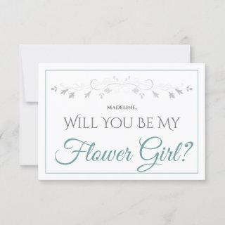 Teal & Gray Elegant Be My Flower Girl Card