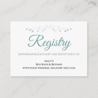 Teal & Gray Elegant Wedding Registry Enclosure Card