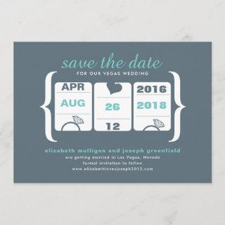 Teal Gray Slot Machine Wedding Save the Date