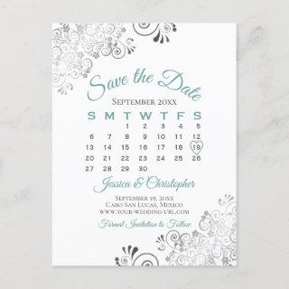 Teal, Gray & White Wedding Save the Date Calendar Announcement Postcard