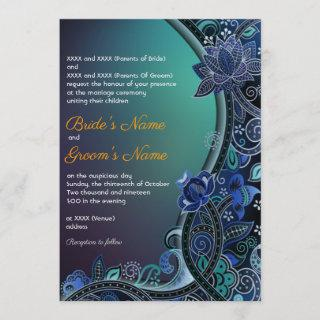 Teal Green Blue Paisley Lotus Luxe Indian Wedding