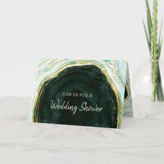 Teal Green & Gold Agate Couple's Wedding Shower Invitations