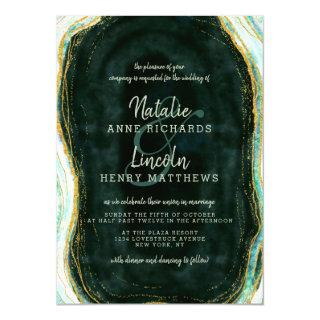Teal Green & Gold Agate Marble Geode Stone Wedding Invitations