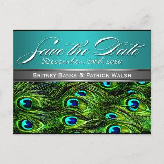 Teal & Green Peacock Wedding Save the Dates Announcement Postcard