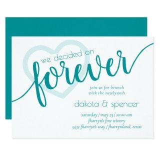 Teal Heart Forever | Jade Green Newlywed Brunch Invitation