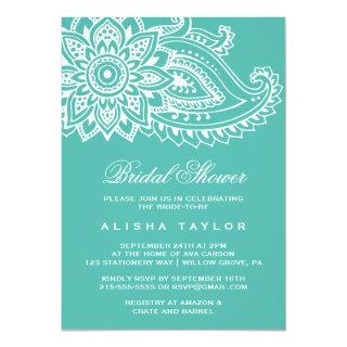 Teal Indian Paisley Bridal Shower Invitation