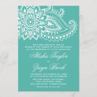 Teal Indian Paisley Formal Wedding Invitation