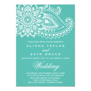 Teal Indian Paisley Wedding Invitation