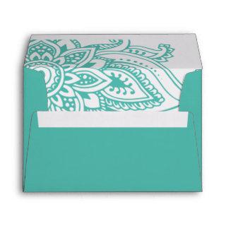 Teal Indian Paisley Wedding Invitations Envelope