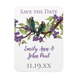 Teal Love Birds Purple Blooming Tree Magnet