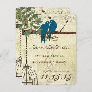 Teal Love Birds Sitting In a Tree Save the Date Invitations
