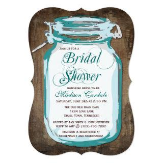 Teal Mason Jar Rustic Bridal Shower Invitations