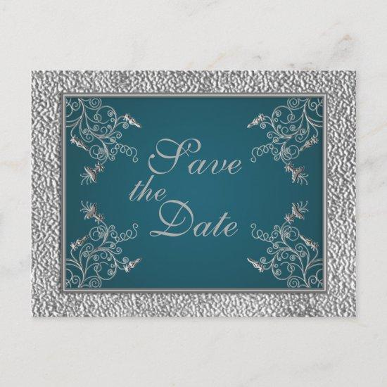 Teal on Pewter Save the Date Postcard