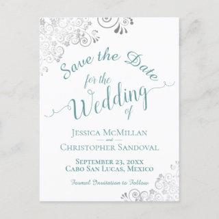 Teal on White Lacy Silver Wedding Save the Date Announcement Postcard