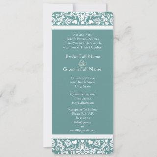 Teal or Any Color Damask Swirls Wedding Invitations