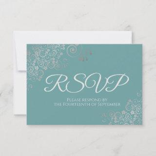 Teal or Turquoise Elegant Silver Lace Wedding RSVP Card