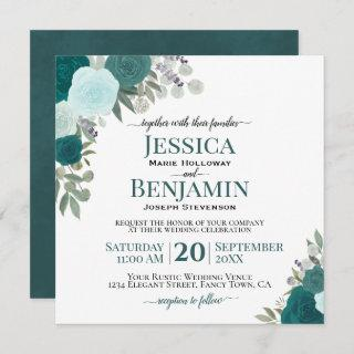 Teal or Turquoise Watercolor Roses Elegant Wedding Invitations