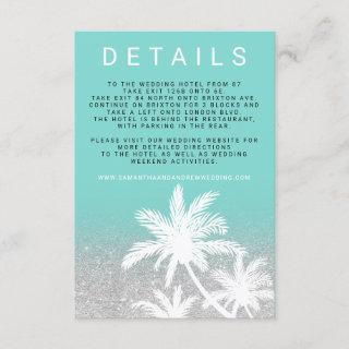 Teal palm tree silver turquoise wedding details enclosure card