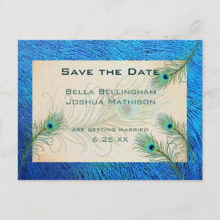 Teal Peacock Feathers Save the Date Wedding pos Announcement Postcard