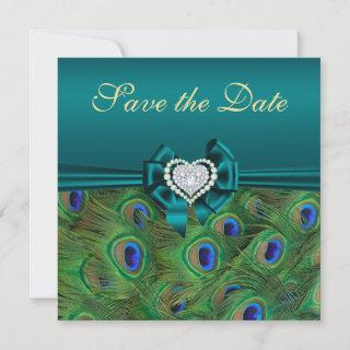 Teal Peacock Save the Date