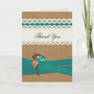 Teal Rustic burlap and lace country wedding Thank You Card