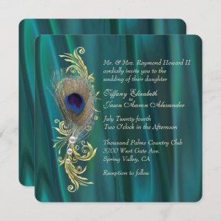 Teal Satin and Peacock Feather Wedding Invitations