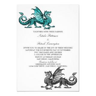 Teal Silver Dragon Wedding Invite