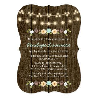 Teal String of Lights Fall Rustic Bridal Shower Invitations