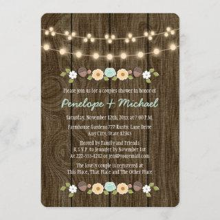 Teal String of Lights Fall Rustic Couples Shower Invitations