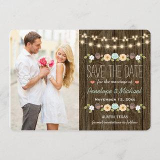 Teal String of Lights Fall Rustic Save the Date