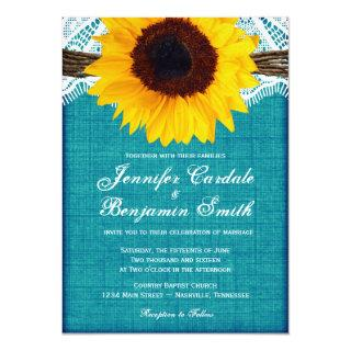 Teal Sunflower Rustic Country Wedding Invites