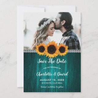 Teal Sunflower Save The Date Photo Cards