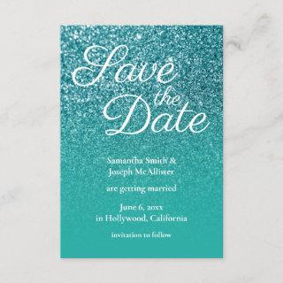 Teal Turquoise Ombre Glitter Save the Date